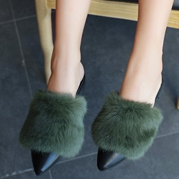 Shoespie Pointed Toe Furry Backless Loafers