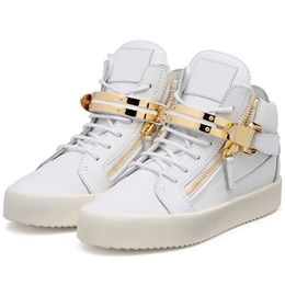 Shoespie White Metal Buckles Men's Fashion Sneakers