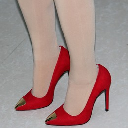Shoespie Chic Red Cap Toe Court Stiletto Heels
