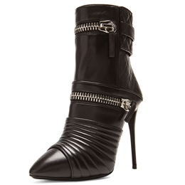 Shoespie Chic Black Winkle Zipper Stiletto Fashion Booties