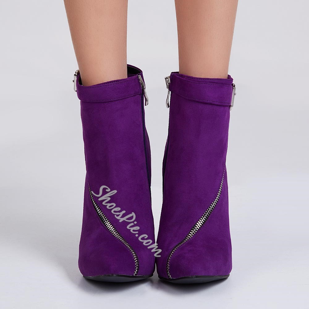 Shoespie Dreaming Purple Pointed Toe Zipper & Buckle Fashion Booties