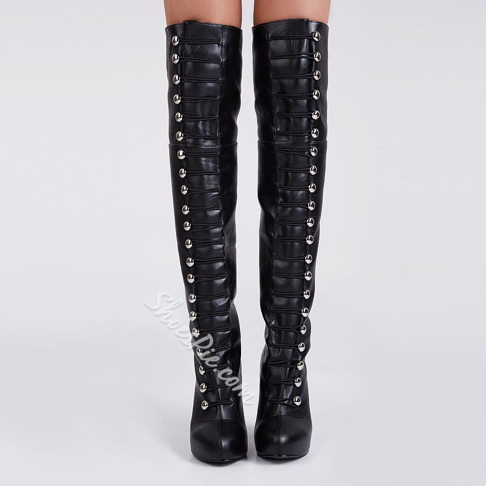 Shoespie Buttons Decoration Over Knee High Boots