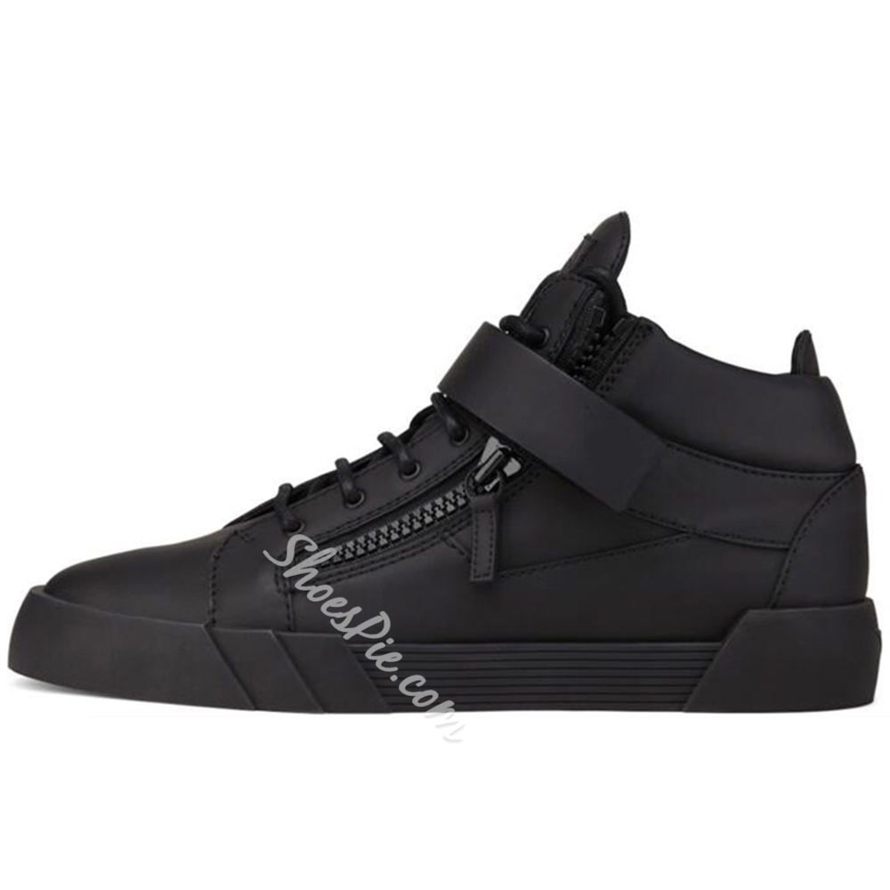 Shoespie Solid Black Men's Skater Sneakers