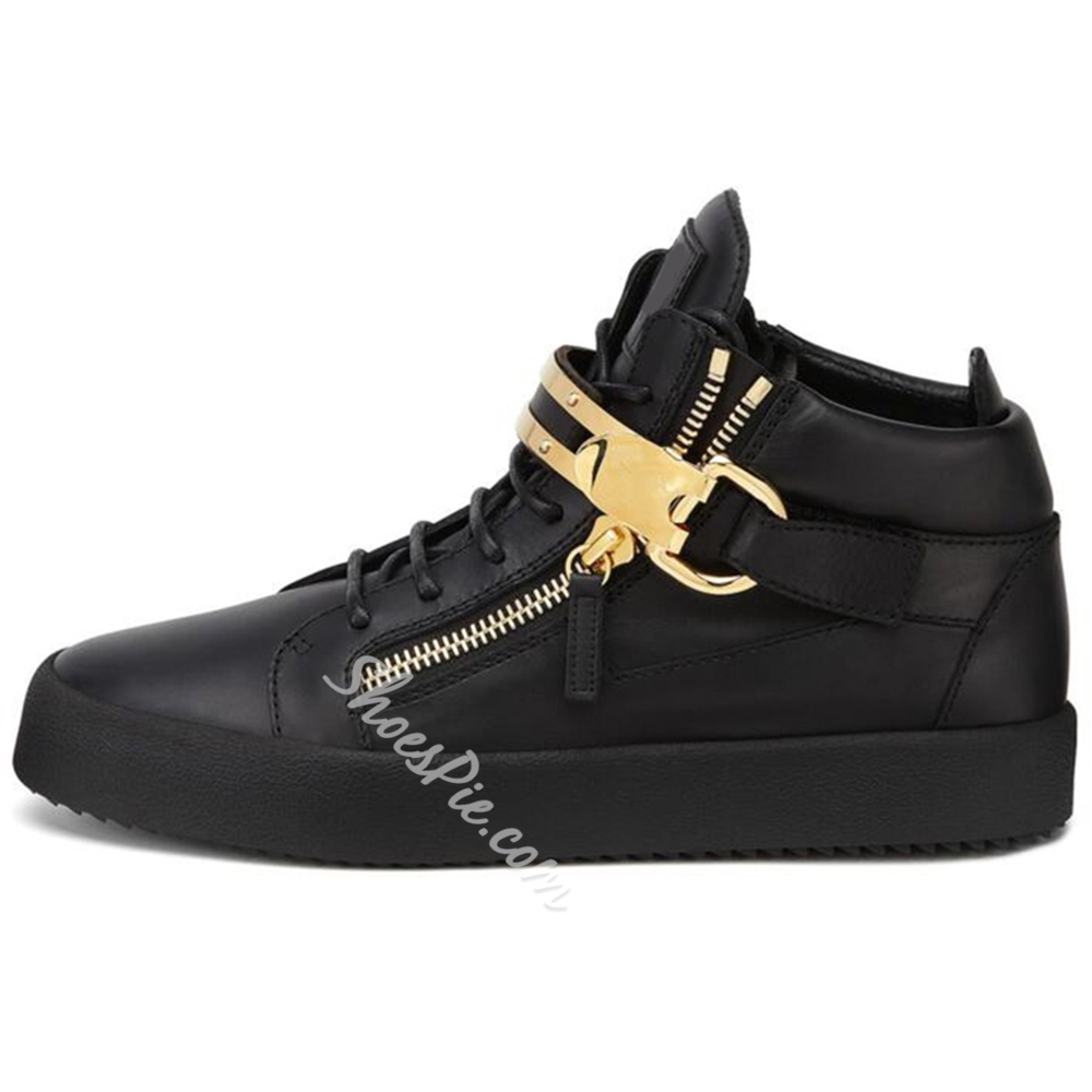 Shoespie Black Metal Buckles Men's Fashion Sneakers