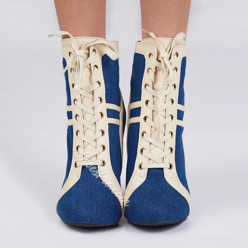Shoespie Chic Contrast Color Lace Up Booties