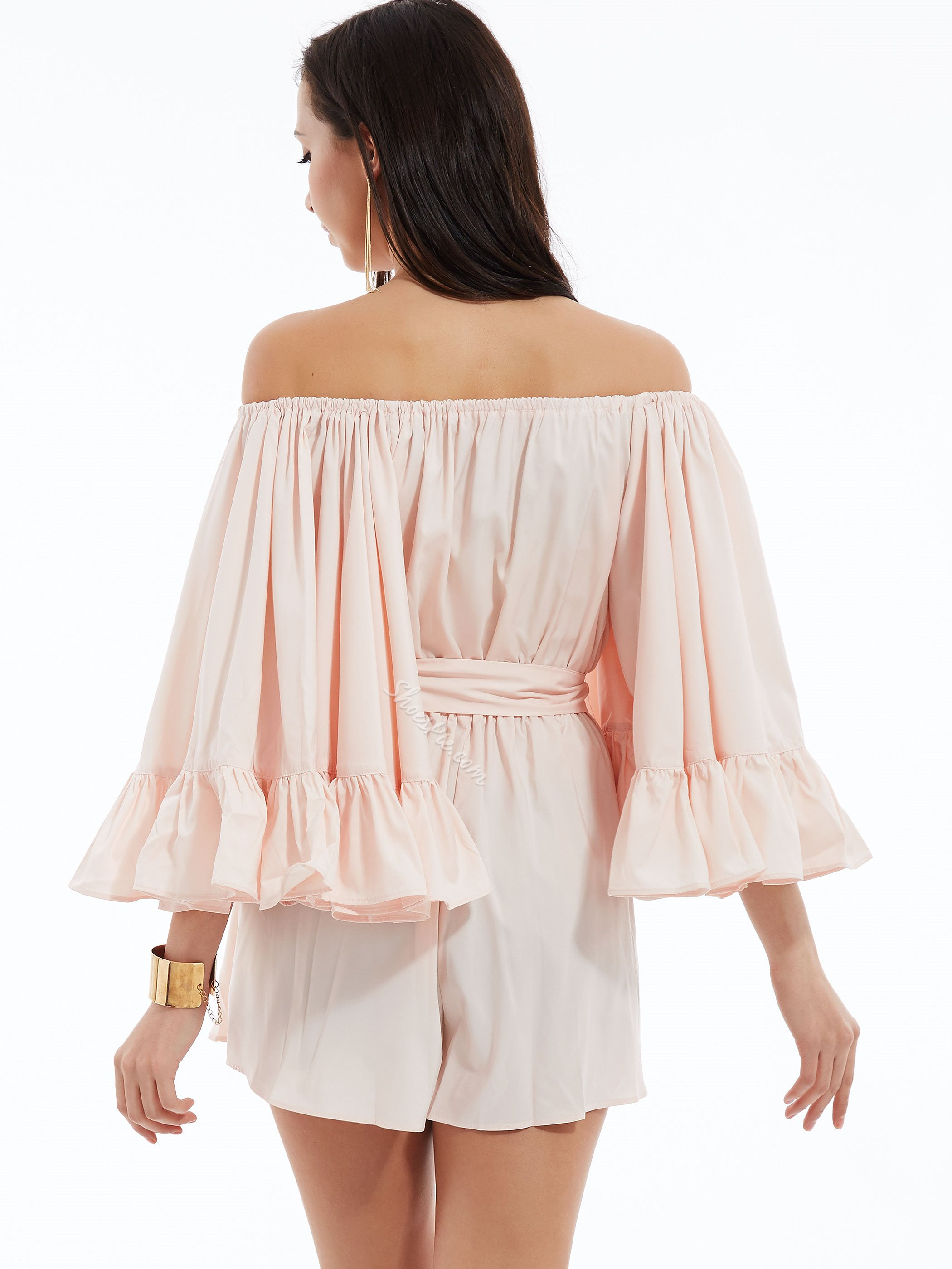 Slash Neck Ruffle Sleeves Jumpsuits