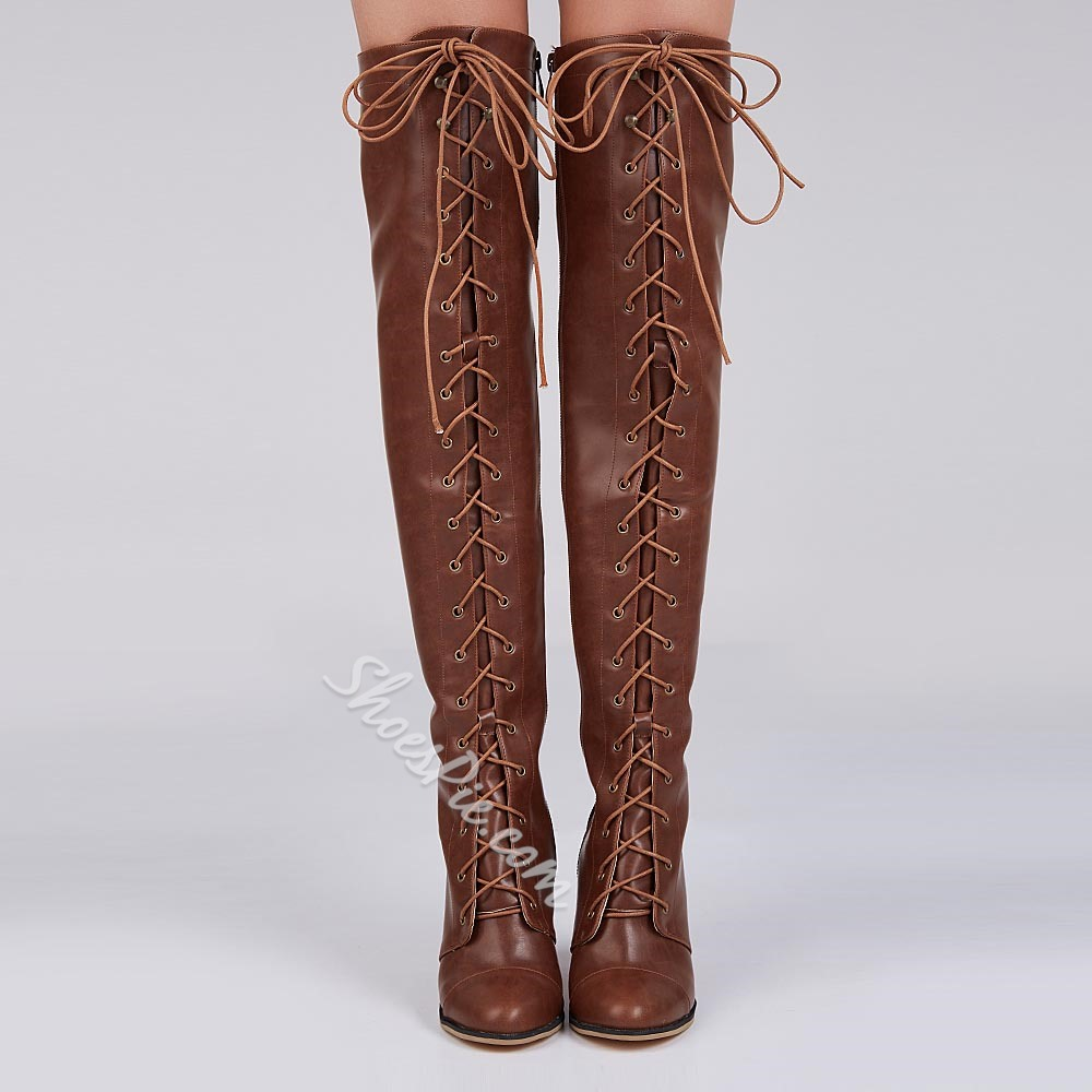 Shoespie Vintage Distressed Block Heel Lace Up Knee High Boots