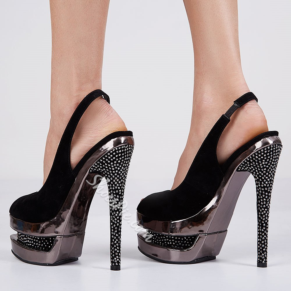 Shoespie Sexy Black Sky High Peep Toe Heels