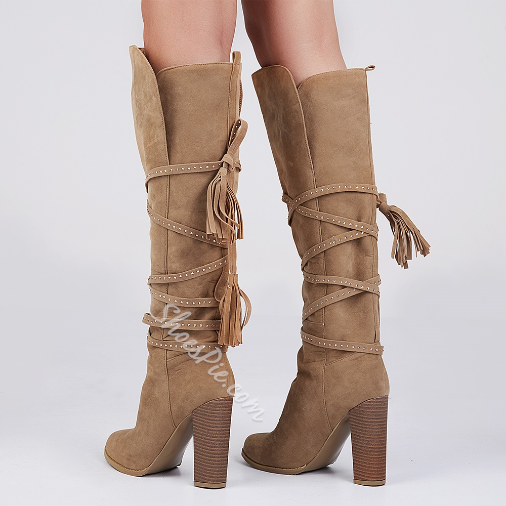 6a955b6f0ae Shoespie Suede Lace-up Chunky Heels Knee High Boots- Shoespie.com