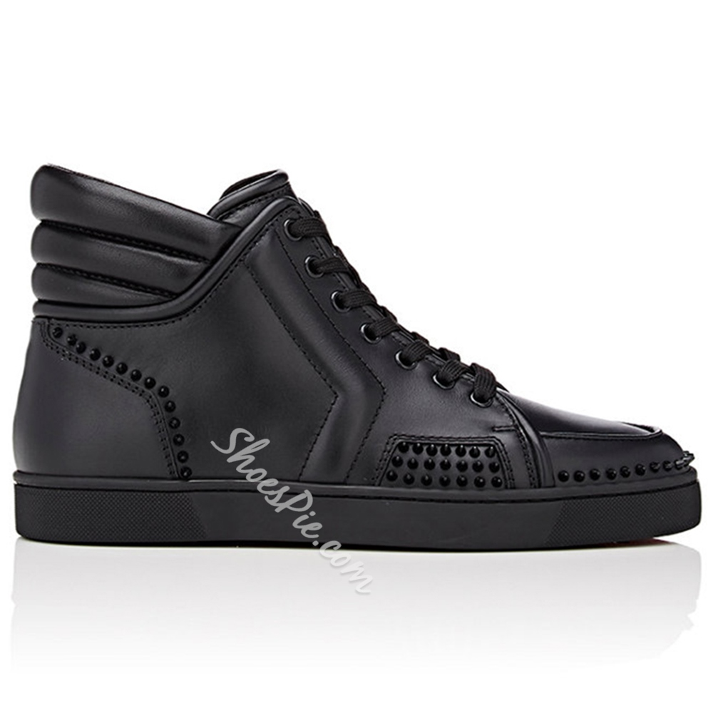 Shoespie Black High-Cut Upper Men's Fashion Sneakers