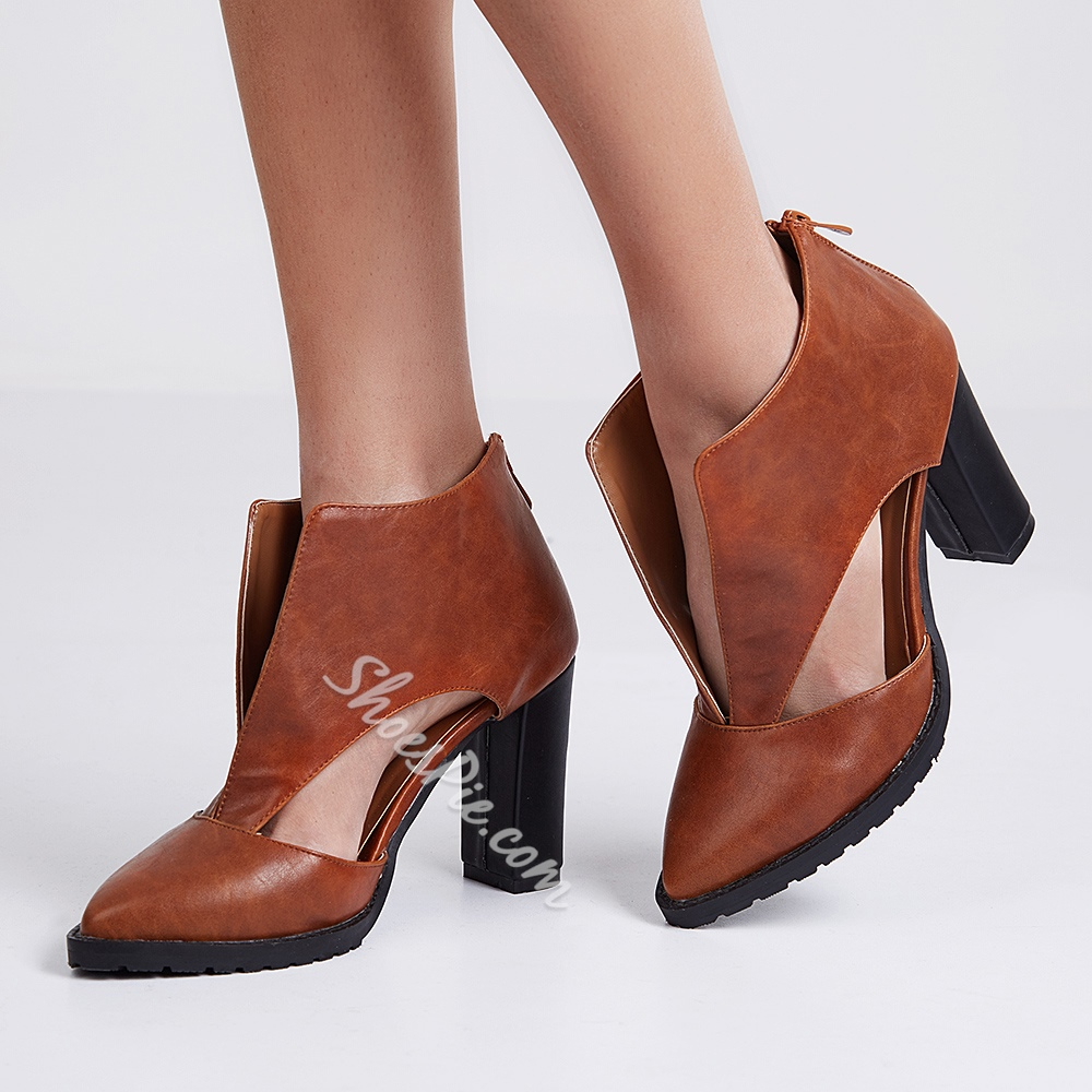 Shoespie Vintage Brown Brush Off Deep V Booties
