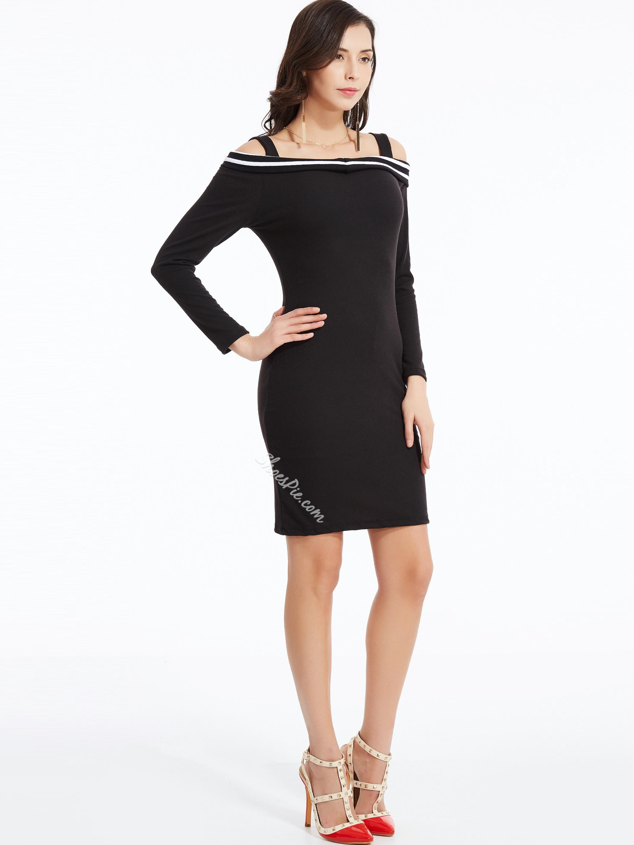 Slash Neck Cold Shoulder Bodycon Dress