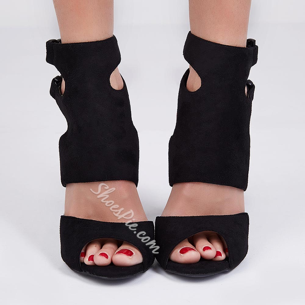 Vogue Black Cut-outs Dress Sandals