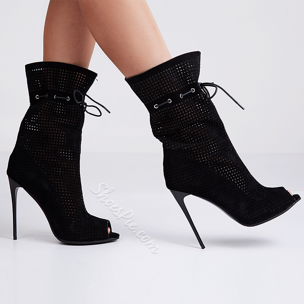 Shoespie Suede Peep-toe Stiletto Ankle Boots