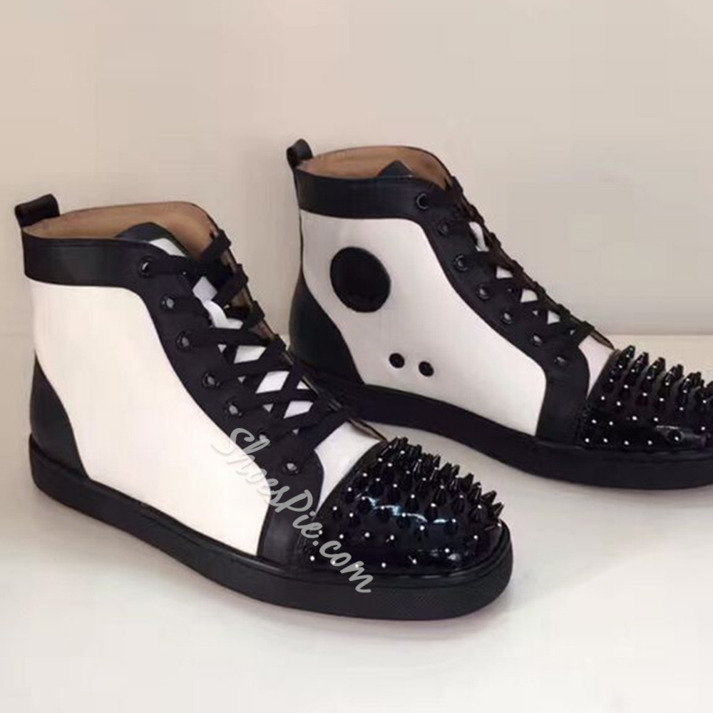 Shoespie Black and White Spikes Men's Fashion Sneakers