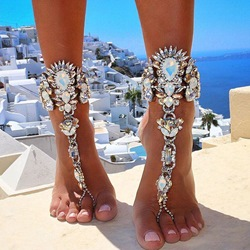 Shoespie Luxurious Rhinestone Toe Ring Anklet ( One Piece )