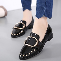 Shoespie Grannie Chic Buckle Rivets Loafers