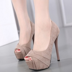 Shoespie Solid Color Wrap Peep Toe Platform Heels