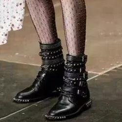 Shoespie Punk Style Rivets & Belted Flat Boots