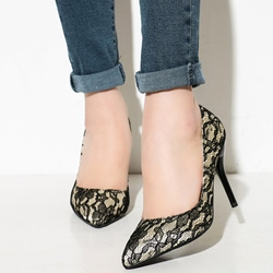 Shoespie Stylish Lace Inset Stiletto Heels