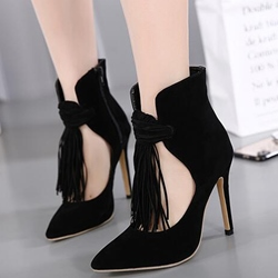 Shoespie Stylish Black Tassels Stiletto Heels