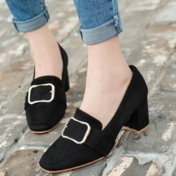 Shoespie Grannie Chic Chunky Heel Pumps