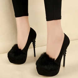 Shoespie Chic Furry Solid Color Platform Heels