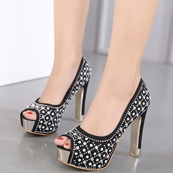 Shoespie Stylish Sequined Rhinestone Platform Heels