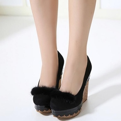 Shoespie Stylish Pompom Accented Wedge Pumps