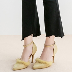 Shoespie Fashion Yellow Fur Trimmed Stiletto Heels