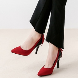 Shoespie Quality Contrast Color Back Knot Mid Heel Pumps