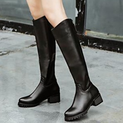 Shoespie Stylish Black Round Toe Riding Boots