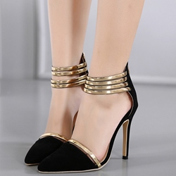 Shoespie Pointed Toe Ankle Wrap Sandals
