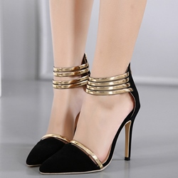 Shoespie Chic Golden Trimmed Pointed Toe Stiletto Heels