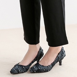 Shoespie Dark Black Gray Worn Kitten Heel Pumps