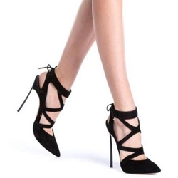 Shoespie Gorgeous Black Cross Wrap Lace Up Backless Stiletto Heels