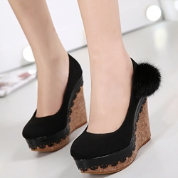 Shoespie Chic Pompom Accented Wedge Heels