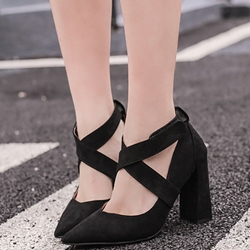 Shoespie Chic Suede Like Cross Wrap Chunky Heel Pumps