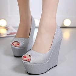 Shoespie Chic Sequined Peep Toe Wedge Heels