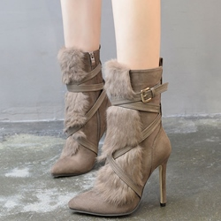 Shoespie Khaki Fur Patchwork Cross Wrap Fashion Booties