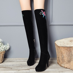 Shoespie Black Floral Embroidered Knee High Boots