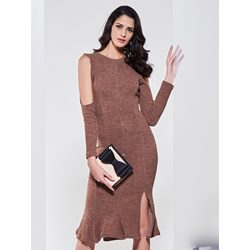 Plain Cold Shoulder Sweater Dress