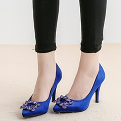 Shoespie Chic Banquet Jewelled Mid Heel Pumps