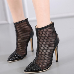 Shoespie Black Stylish Mesh Fashion Booties