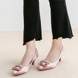 Shoespie Romantic Pink Jewelled Banquet Kitten Heel Banquet Pumps