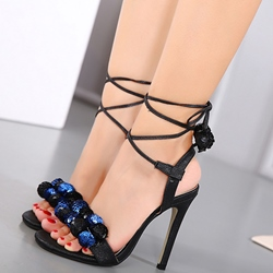 Shoespie Sequined Balls Decorated Lace Up Sandals