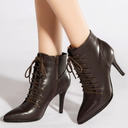 Shoespie Glossy Lace Up Motocycle Boots