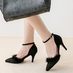 Shoespie Low-key Luxury Fur Trimmed Mid Heel Ankle Wrap Pumps