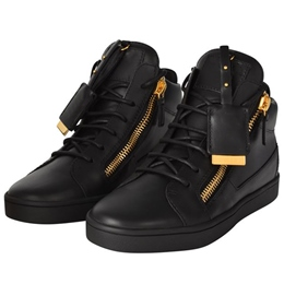 Shoespie Black Color Golden Side Zippers Decorated Men's Fashion Sneakers