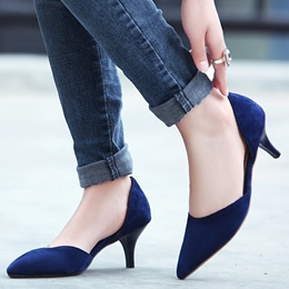 Shoespie Chic Solid Color Kitten Heel D'orsay Shoes